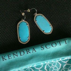 Kendra Scott Elle Silver Turquoise Oval Earrings